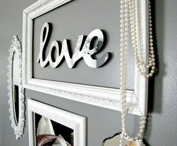 wanddeko basteln Bilderrahmen-LOVE buchstaben-glänzend ...