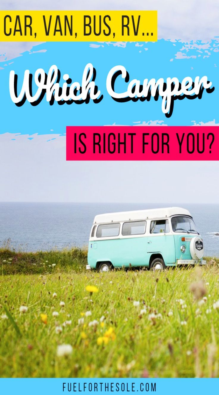 Into life on the road? We can help you choose the perfect road trip vehicle. Learn more with our guide of tips & ideas for campers like cars, SUVs, vans (VW, Ford Transit & Sprinter, Class B), trucks, buses, travel trailers, motorhomes & RVs. Your choice depends on if you have a family, kids & pets; are solo or in a couple; if you need stealth or size; if camping, on vacation or living in it. Start your driving adventure here! #vanlife #travel #camping #campervan #roadtrip Fuelfo