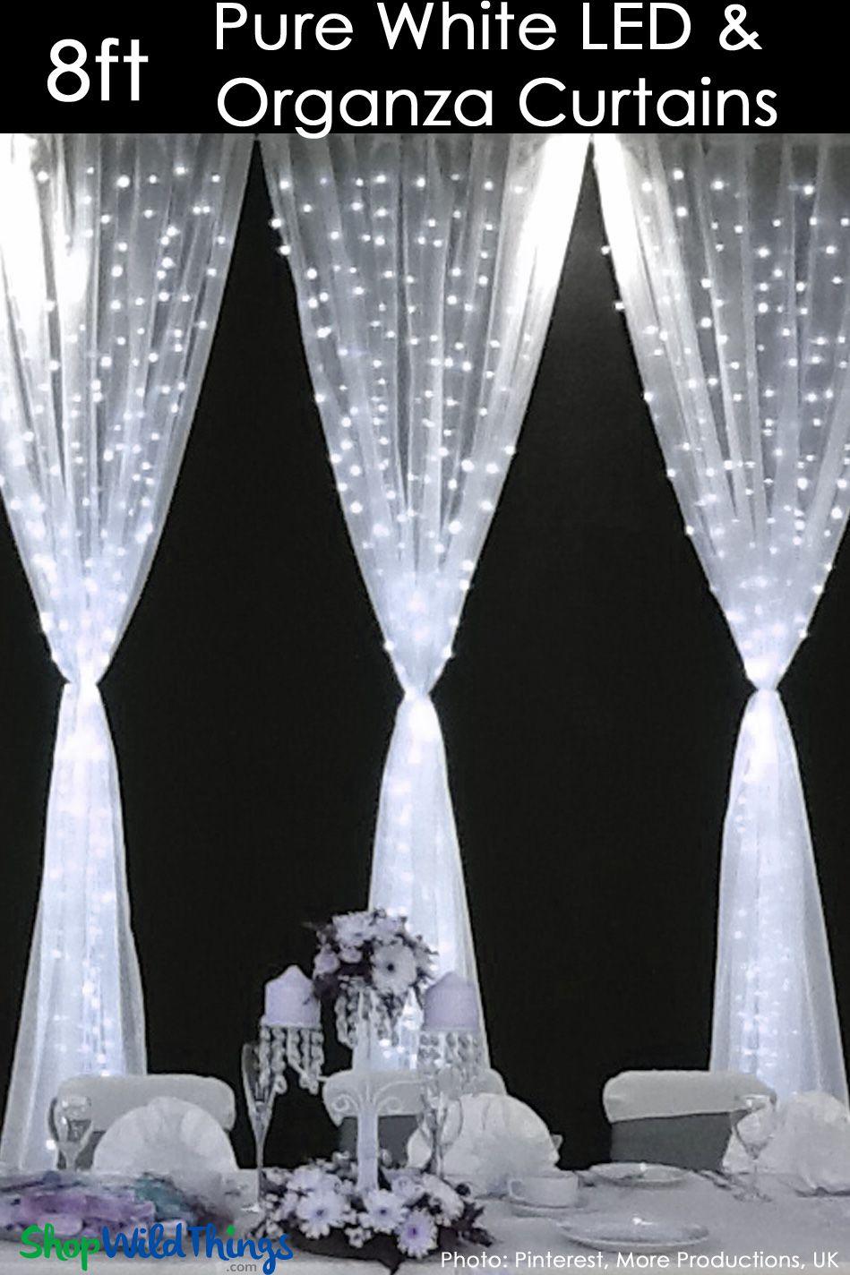 Led Organza Curtain 200 Lights 4 X 8 Pure White Fabric