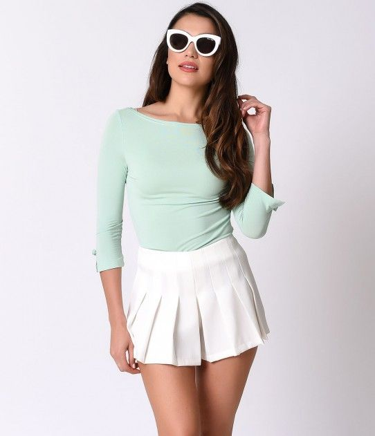 Banned Retro Mint Three-Quarter Bow Sleeve Knit Modern Love Top