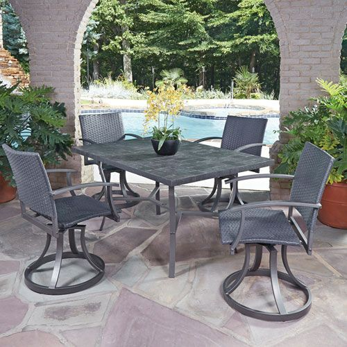 Stone Black 60 X 40 5 Piece Outdoor Dining Set Outdoor Dining