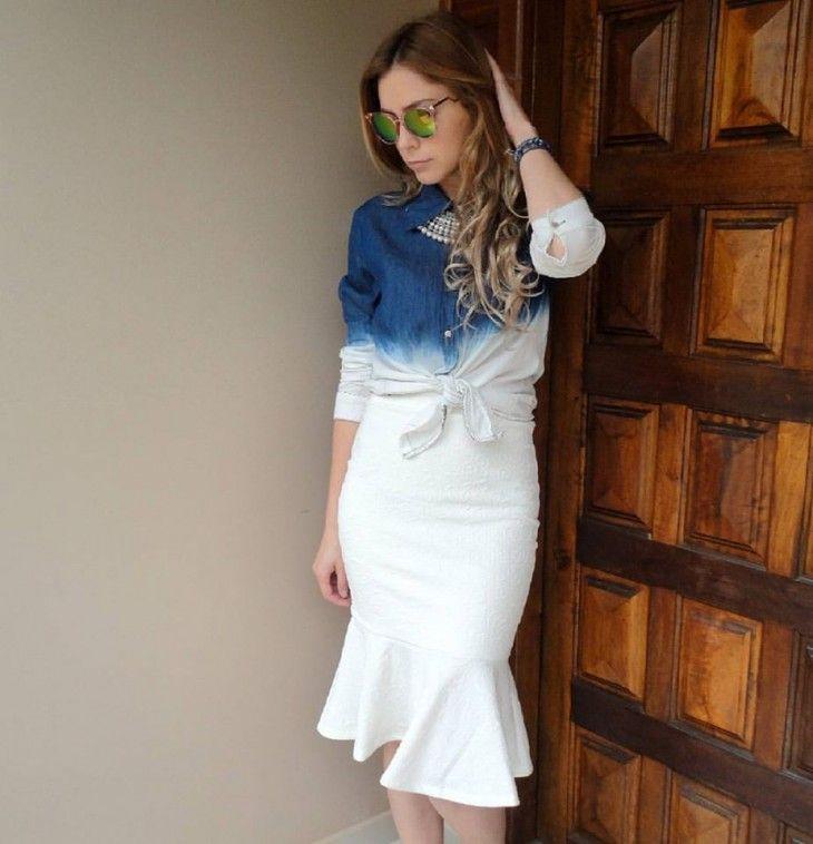c99996beaf camisa-jeans-degradê-saia-midi-branca-babado-moda-look-comprar ...