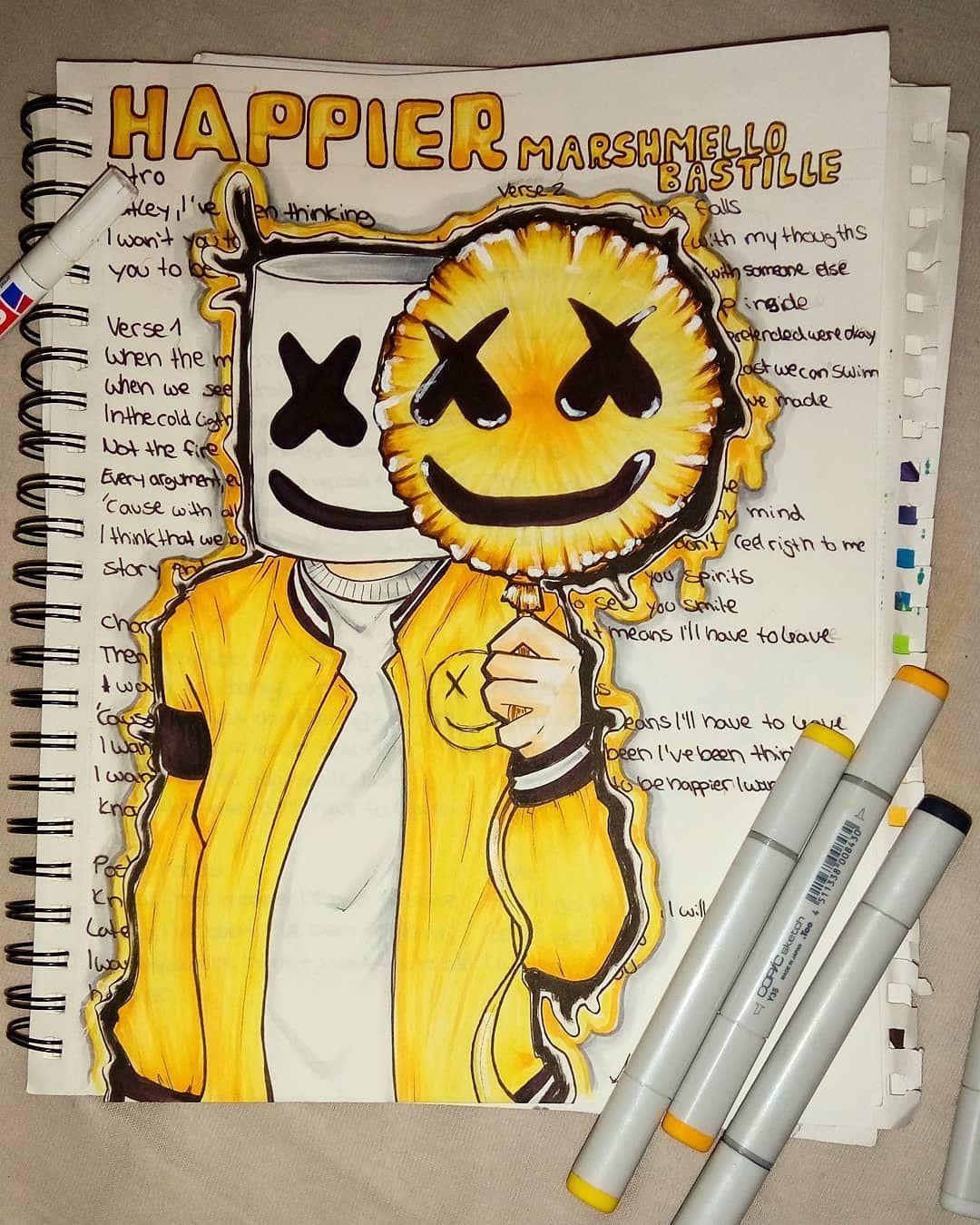 Lately I Ve Been Thinking I Want You To Be Happier Marshmello Mellogang Music Fana Doodle Art Drawing Dj Art Music Artwork