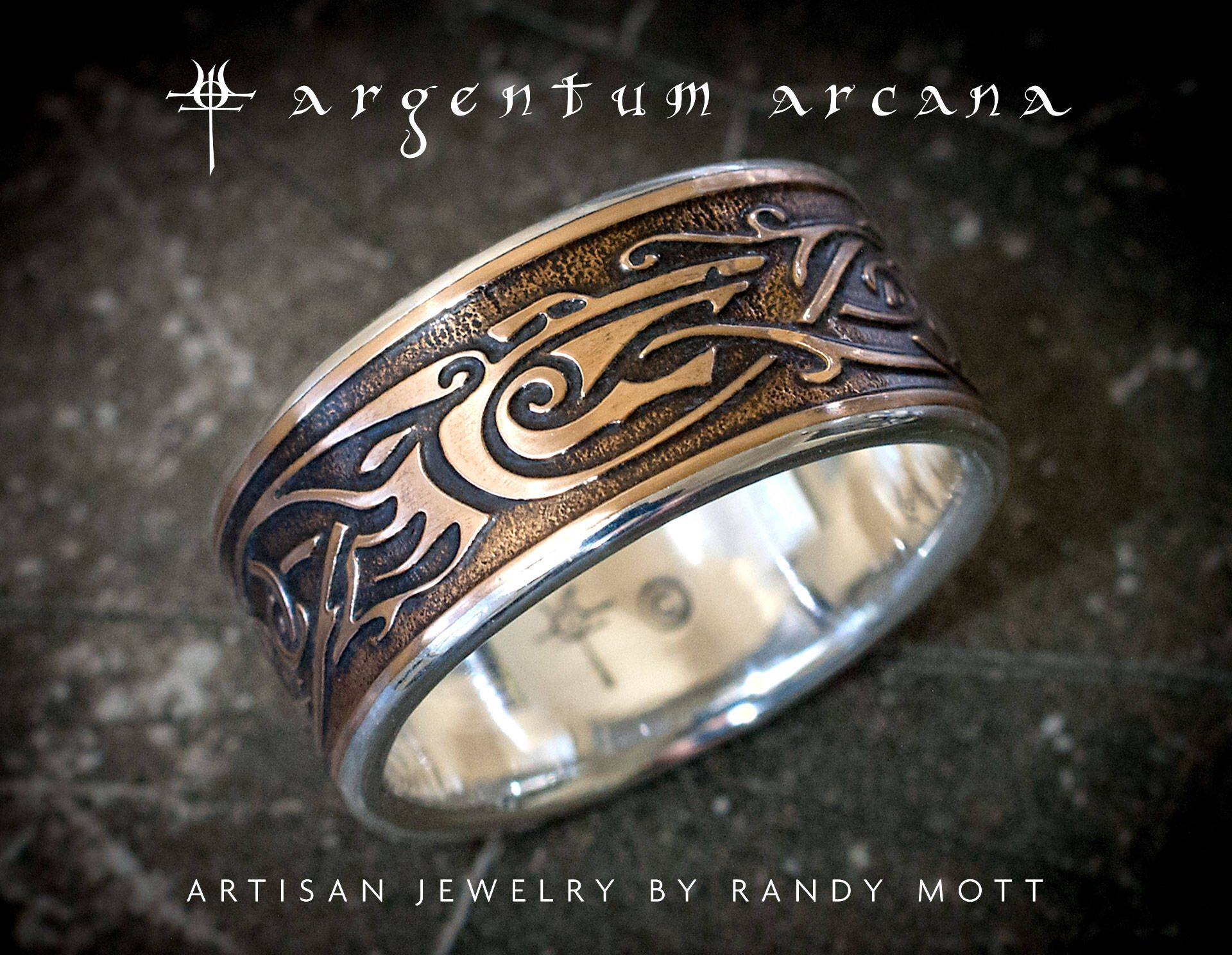 Viking Ring with Wolf Design Sterling Silver and Bronze