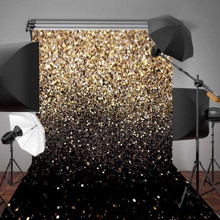 Electronics Fabric Backdrop Black Gold Party Glitter Photo
