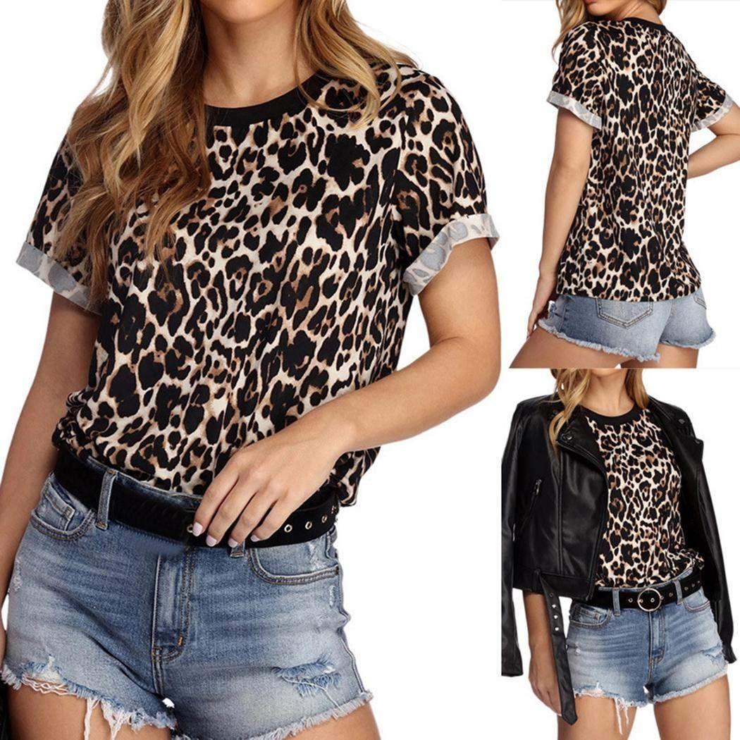 Women Casual Print Short Sleeve Leopard O-Neck Blouse Shirt Pullover Tops