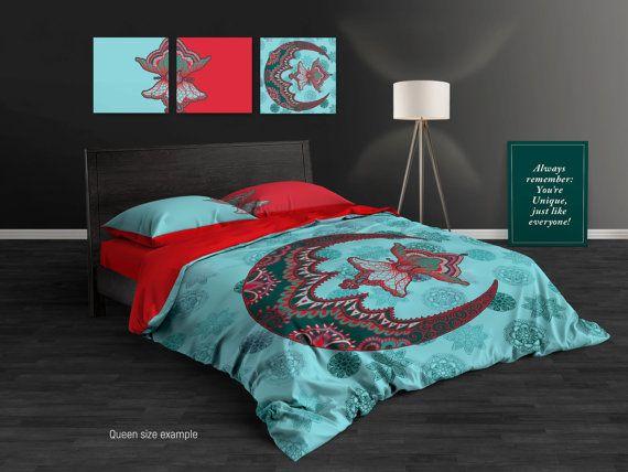 Sacred Mandala Bedding Set Moon Mandala Duvet Cover Boho Etsy Mandala Duvet Cover Duvet Cover Sets Single Bedding Sets