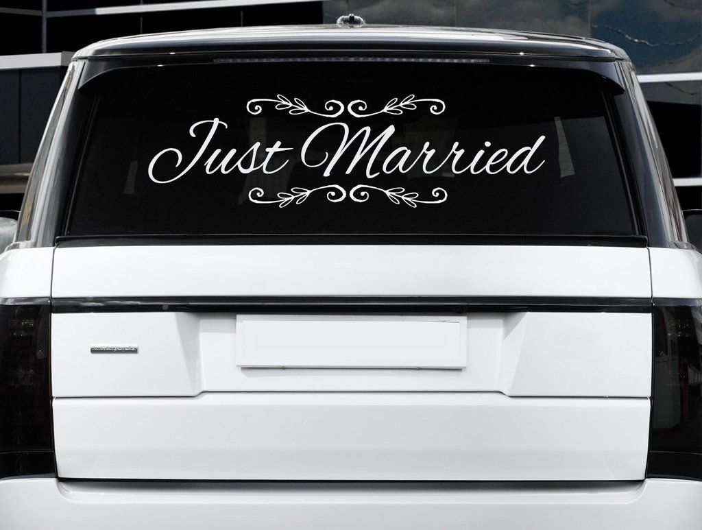 Just Married Car Sign X Wedding DecorBride Groom Wedding - Vinyl window clings for cars