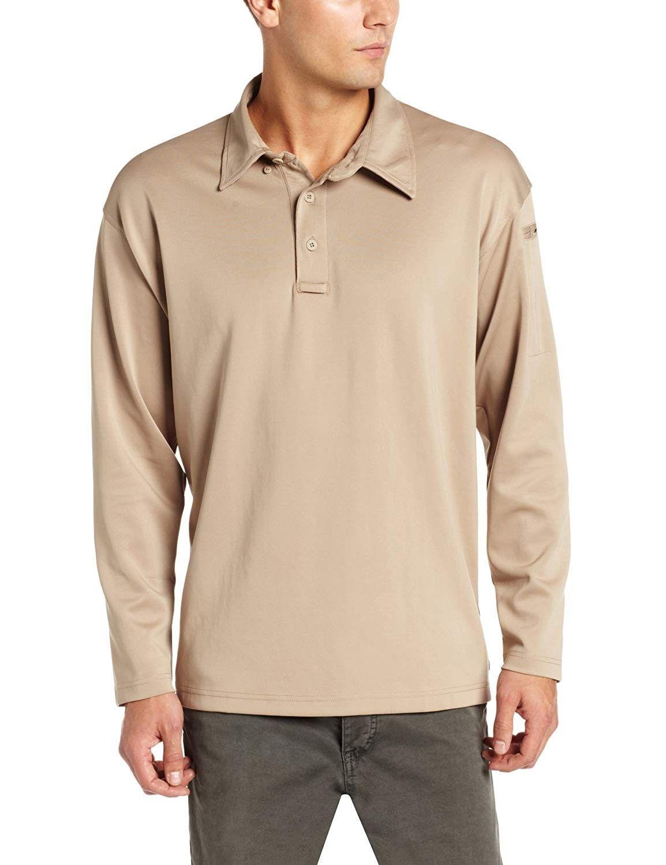 Men S I C E Long Sleeve Performance Polo Shirt Silver Tan