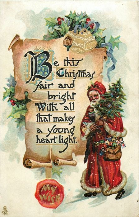 My Wish ~ parchment scroll with Santa, holly Christmas!! Crafts