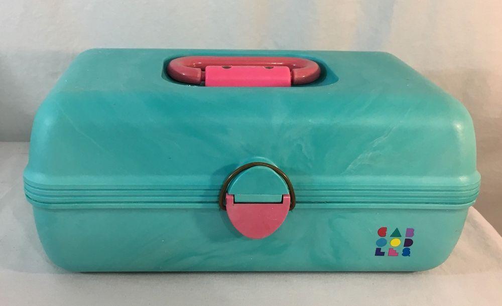 Vintage Caboodles Turquoise Aqua Swirl Makeup Case Usa 80 S 90 S