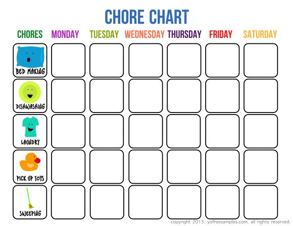 Sample Chore Chart For Kids  Summer  Summer    Summer