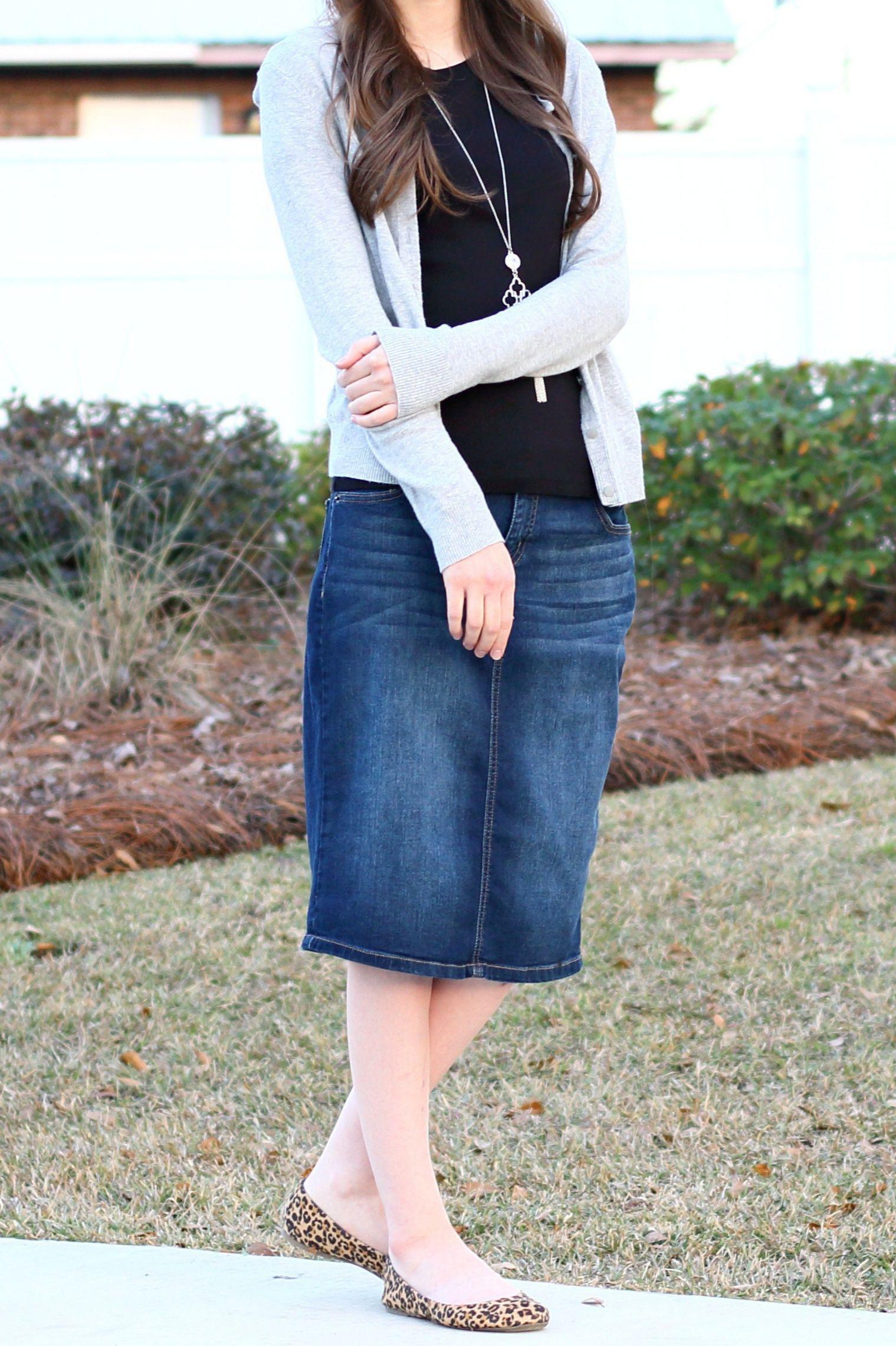 b49c0f1ea5 Modest Casual Outfit Idea for Church//Denim Skirt//Leopard Print  Flats//Gray Cardigan//Black Tee//Fall/Spring Style ...