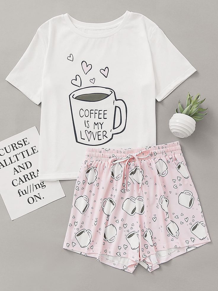 a1de7590a3 Shop Cups Print Top With Drawstring Waist Shorts Pajama Set online. SheIn  offers Cups Print Top With Drawstring Waist Shorts Pajama Set   more to fit  your ...