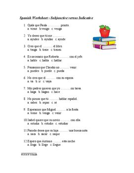 Subjunctive vs Indicative Spanish Worksheet or Quiz ...
