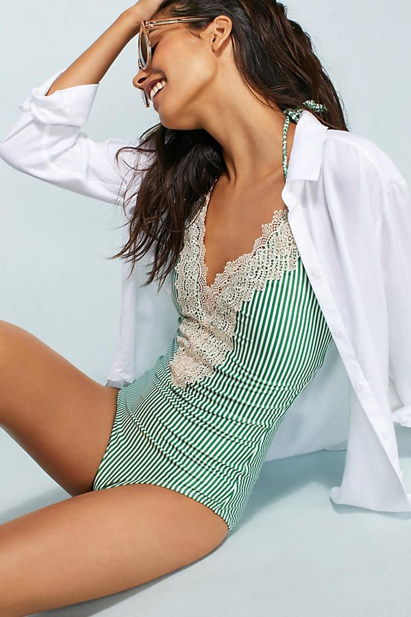 Lace-Front One-Piece Swimsuit