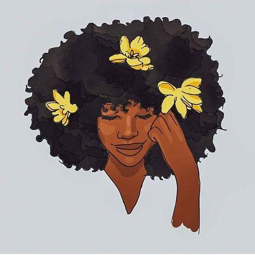 Afro Art And Flowers Image Black Women Art