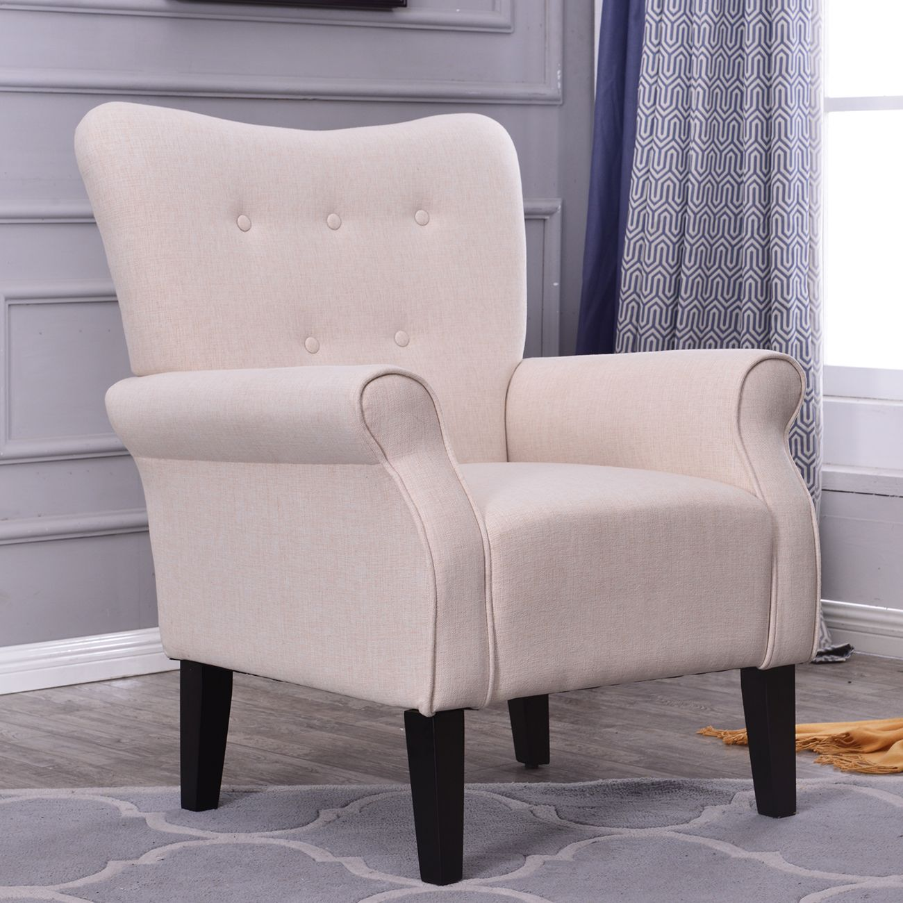 Button Back Armchair Accent High Back Living Room Bedroom