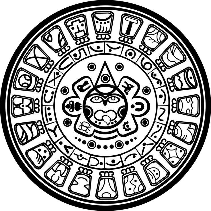 Mayan Calendar Coloring Page With Images Mayan Calendar Kids