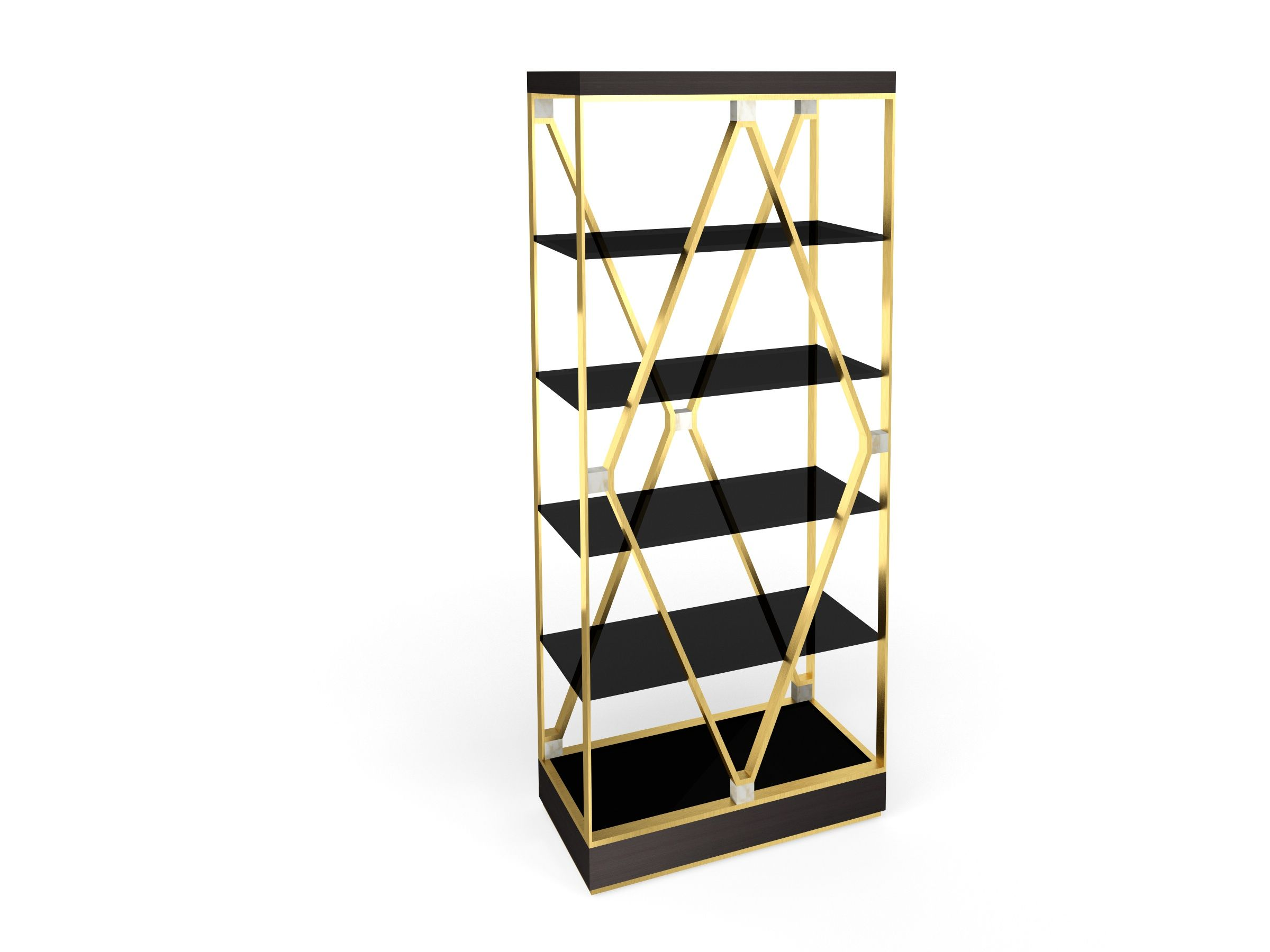 DEBBIE Bookshelf In Black Ebony With Brushed Brass Structrure And Calacatta Oro Marble Details Designed