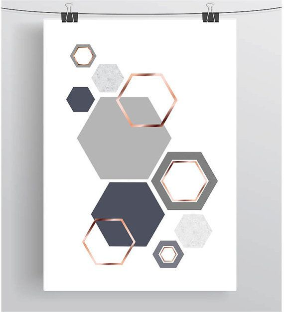 Ähnliche Artikel wie Grey and Rose Gold Print Gray  Copper Wall Art Geometric Print Honeycom Ähnliche Artikel wie Grey and Rose Gold Print Gray  Copper Wall Art...