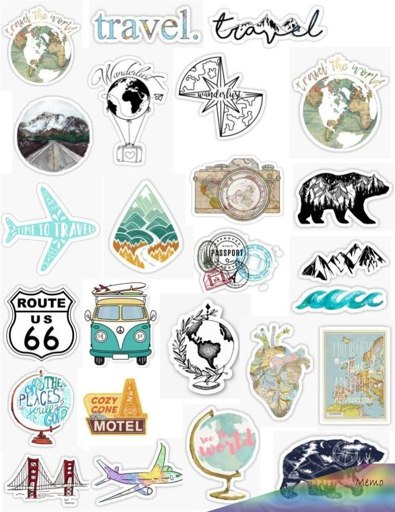 Aesthetic travel sticker pack, stickers, blue, vintage