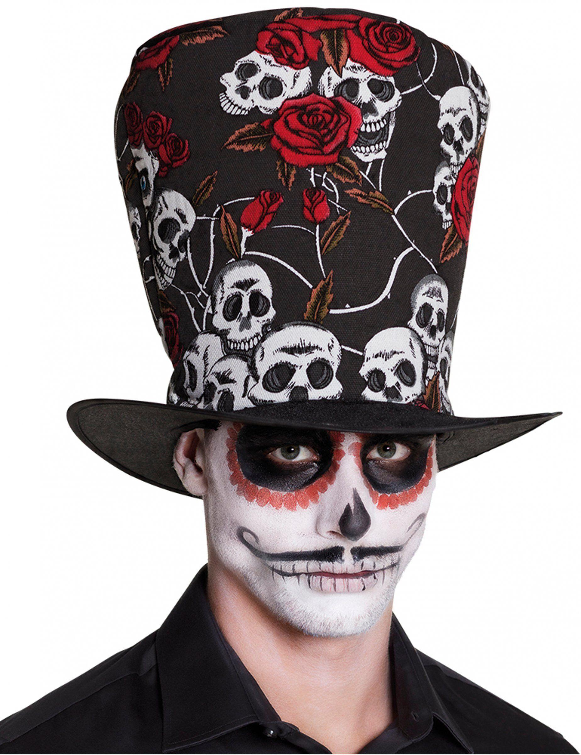 Sombrero de copa calavera y rosas rojas adulto Día de los muertos  Este  accesorio para 6f0e6c7c1a02