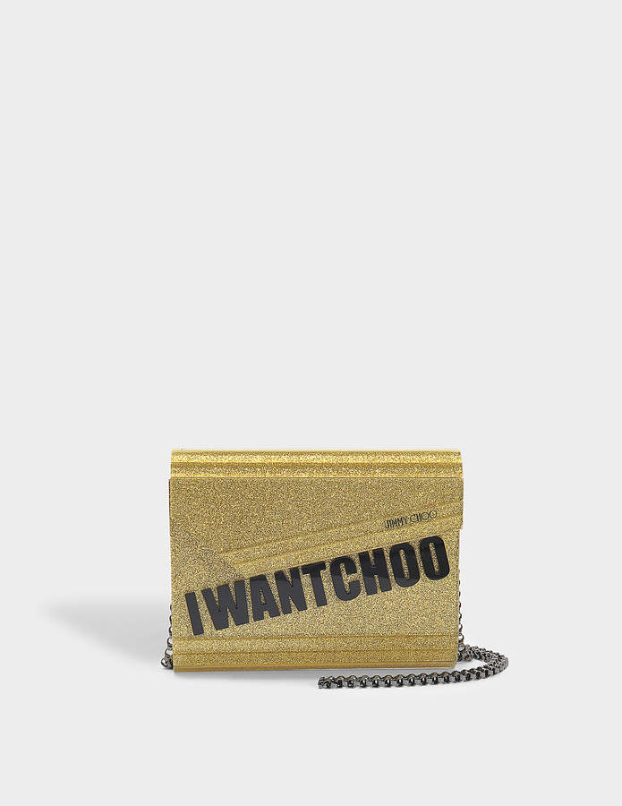 2770a23ea48 Jimmy Choo I Want Choo Candy Clutch Bag in Gold Glitter Acrylic ...