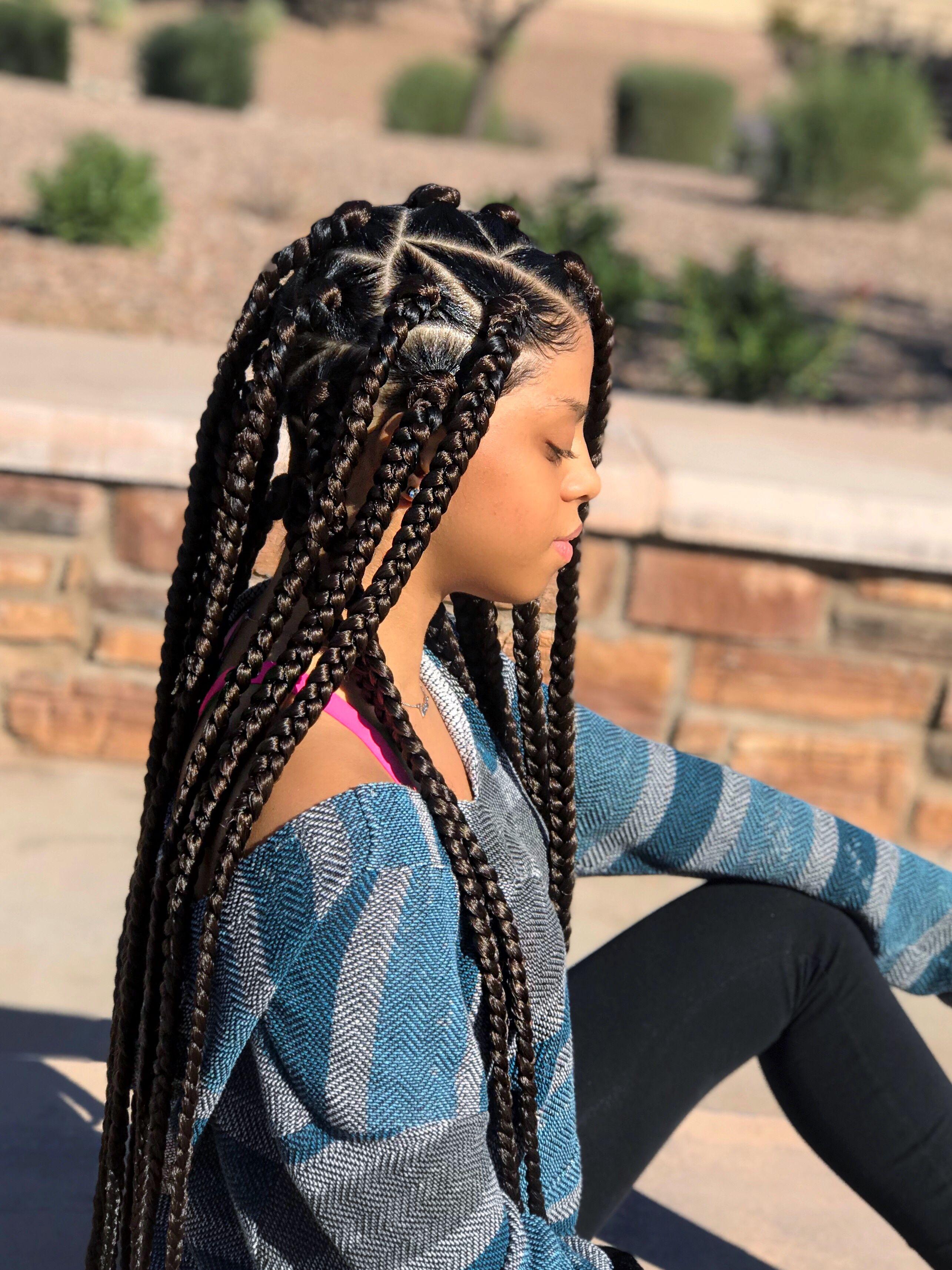 jumbo sized box braids - brown box braids - protective style