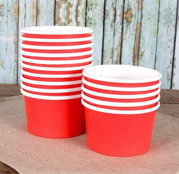 Small Red Ice Cream Cups 4oz Size (18)