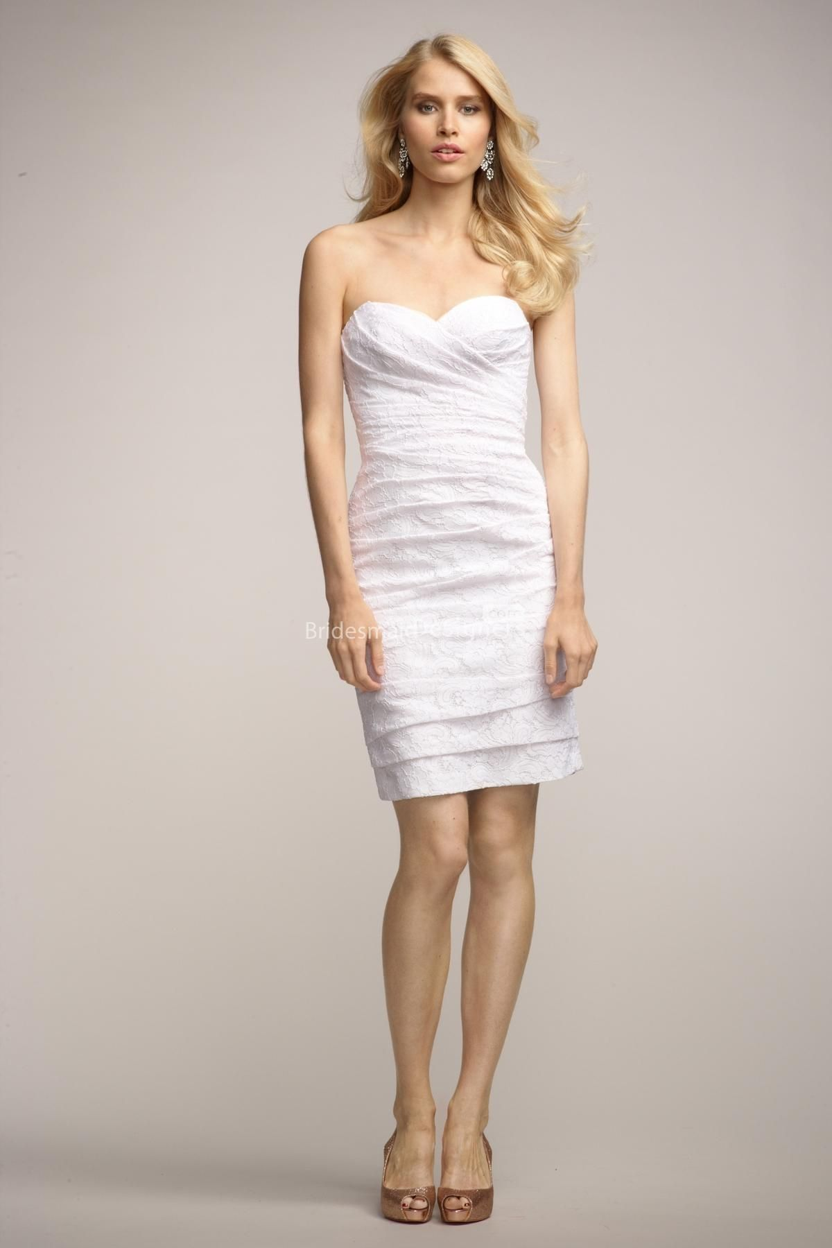 Understated white sweetheart sleeveless short sheath ruched lace