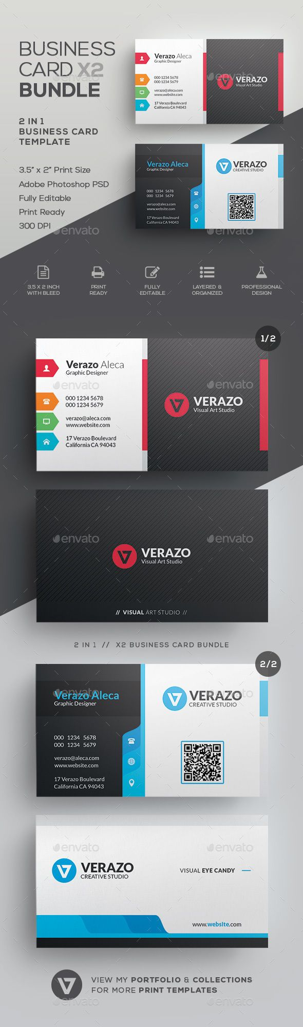 Business Card Bundle 44 | Card templates, Business cards and Template