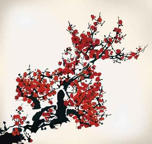Murales Flores Floral Pintura Japonesa Flores Rojas Acuarela En