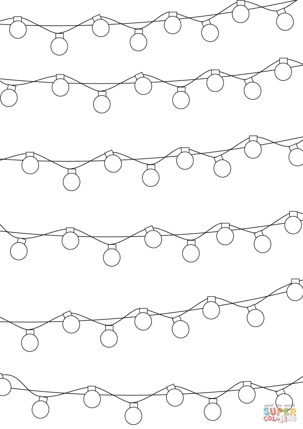 Christmas Lights Pattern coloring page Free Printable