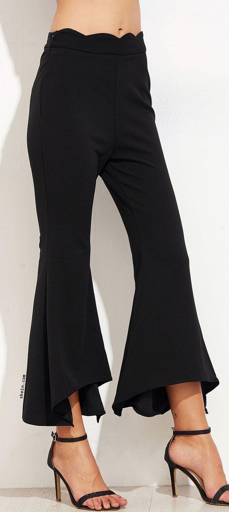 SheIn Pantalon Femmes Fitness V ecirc tements Femmes Pantalon Occasionnels  Pantalon de Femmes Noir P eacute toncles Taille Asym eacute trique  Eacute  ... 2414f7704572