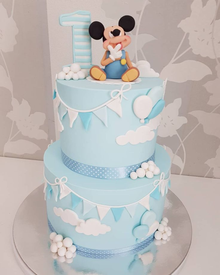 Baby Blue Mickey Mouse With Bunting Baby Boy Cake Baby Boy