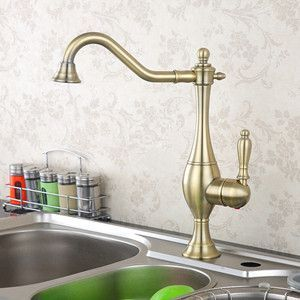 New Arrival Solid Brass Deck Mounted Single Handle Kitchen Sink Mixer Faucet Antique Bronze High Quality Popular Hot Cold Water