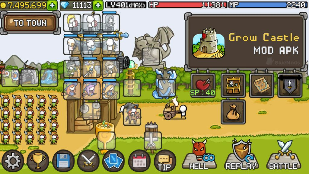 Grow Castle Mod APK Unlimited Gems and Max Level Leaders