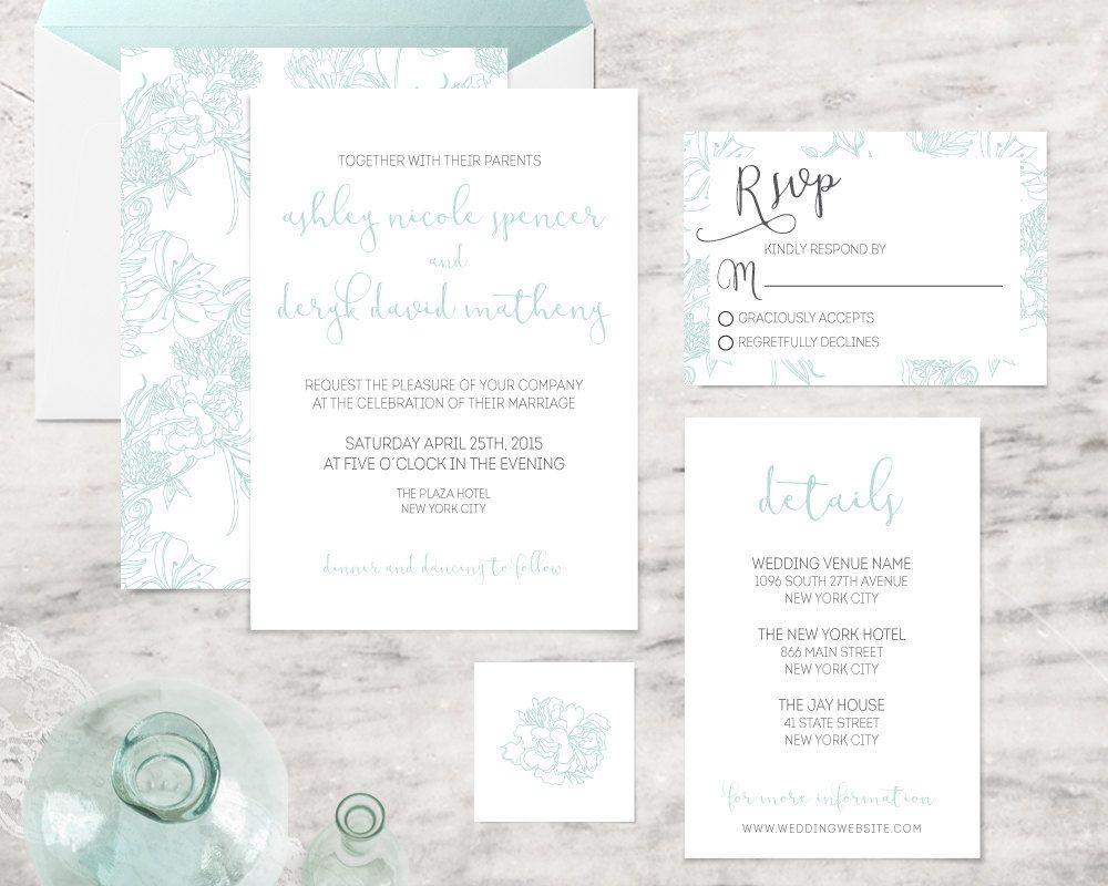 Printable Wedding Invitations, Blue Flower Wedding Invitation ...