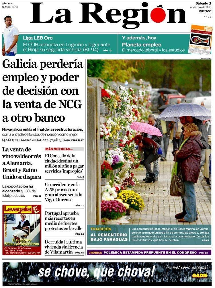 Los Titulares y Portadas de Noticias Destacadas Españolas del 2 de Noviembre de 2013 del Diario La Región ¿Que le pareció esta Portada de este Diario Español?