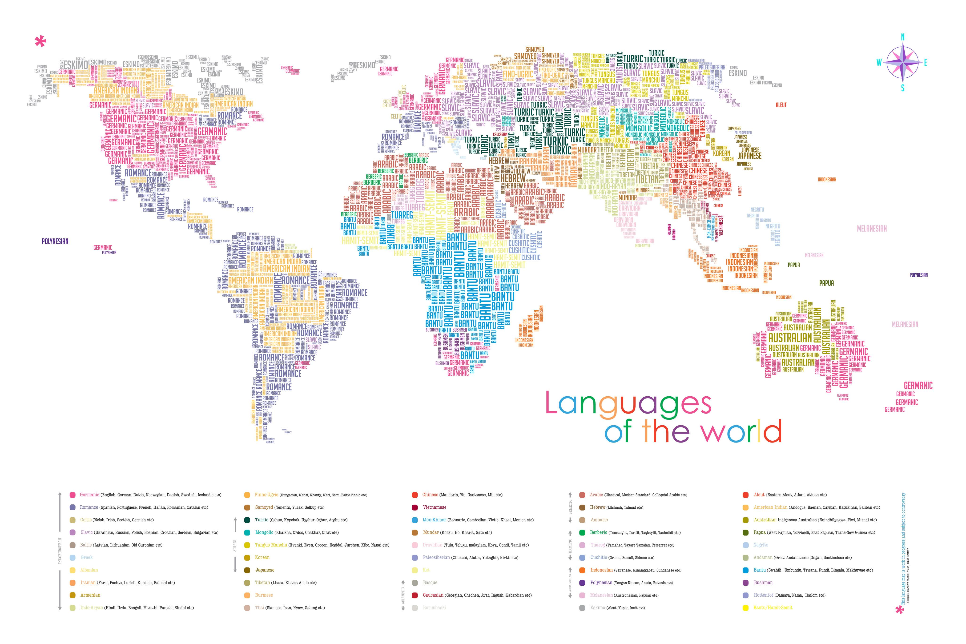 Language Map Of World.Color Coded Map Of Languages Of The World Languages Linguistics