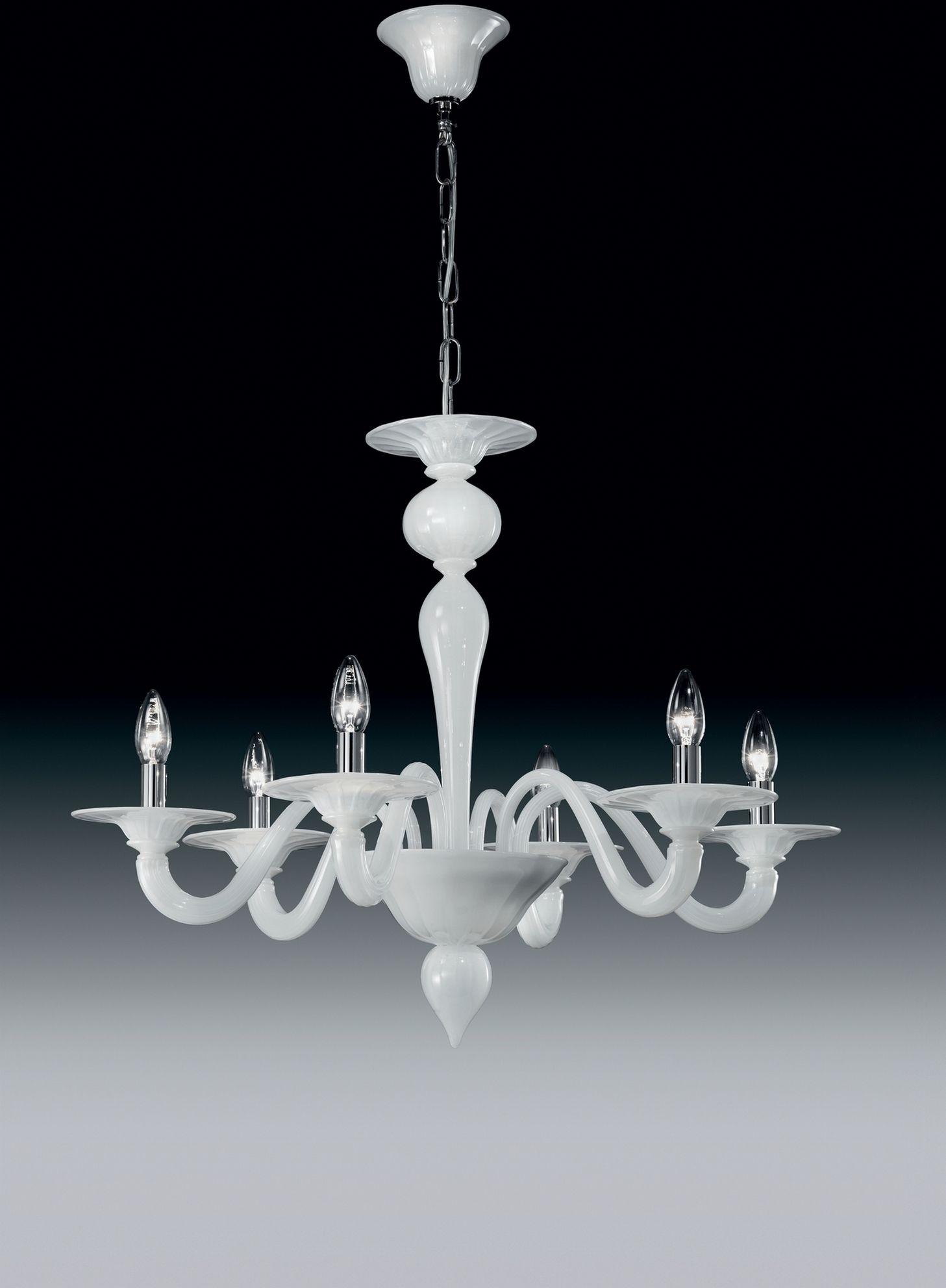 Lampadario 6 luci in vetro soffiato bianco e componenti in