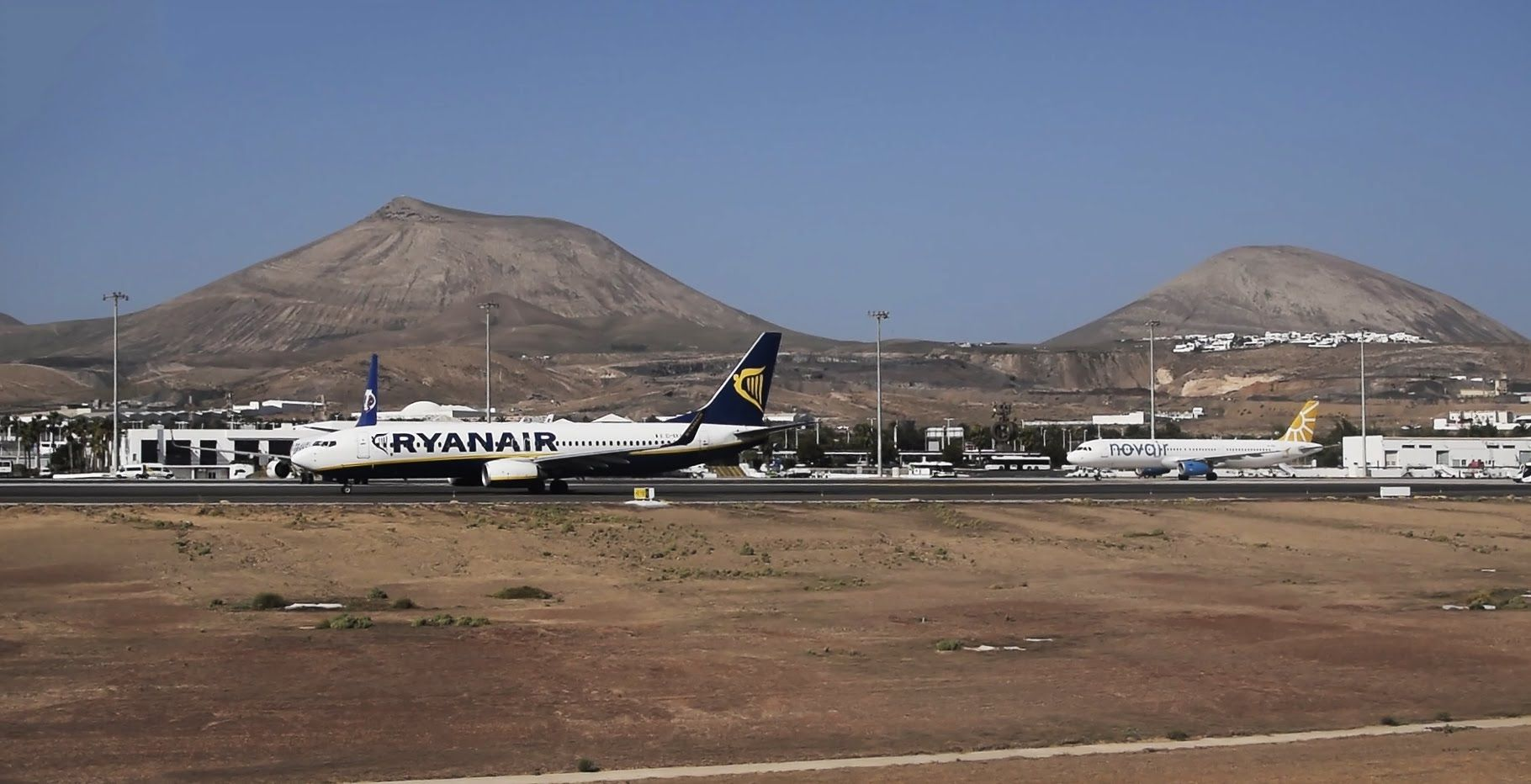 Airplane landing at Lanzarote Airport (ACE) after a flight