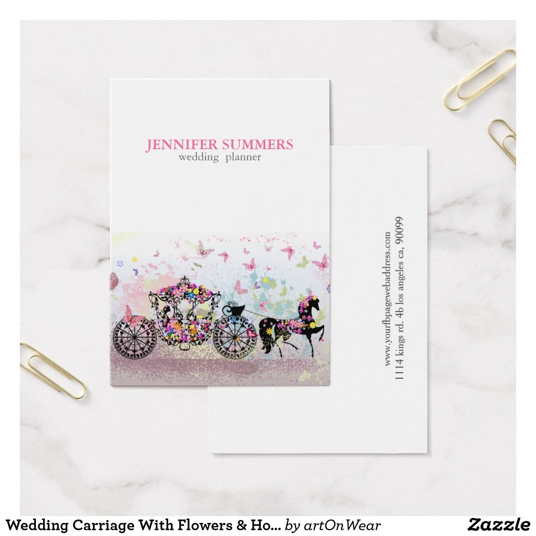 Wedding Carriage With Flowers & Horse Business Card