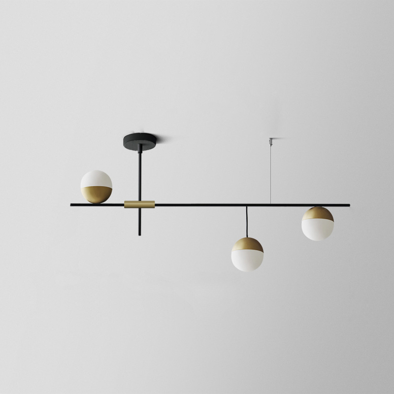 Mid Century Modern 3 Light Linear Ceiling Light In Black And Brass With Glass Globes Fo In 2020 Ceiling Lights Living Room Dining Room Lamps Dining Room Light Fixtures