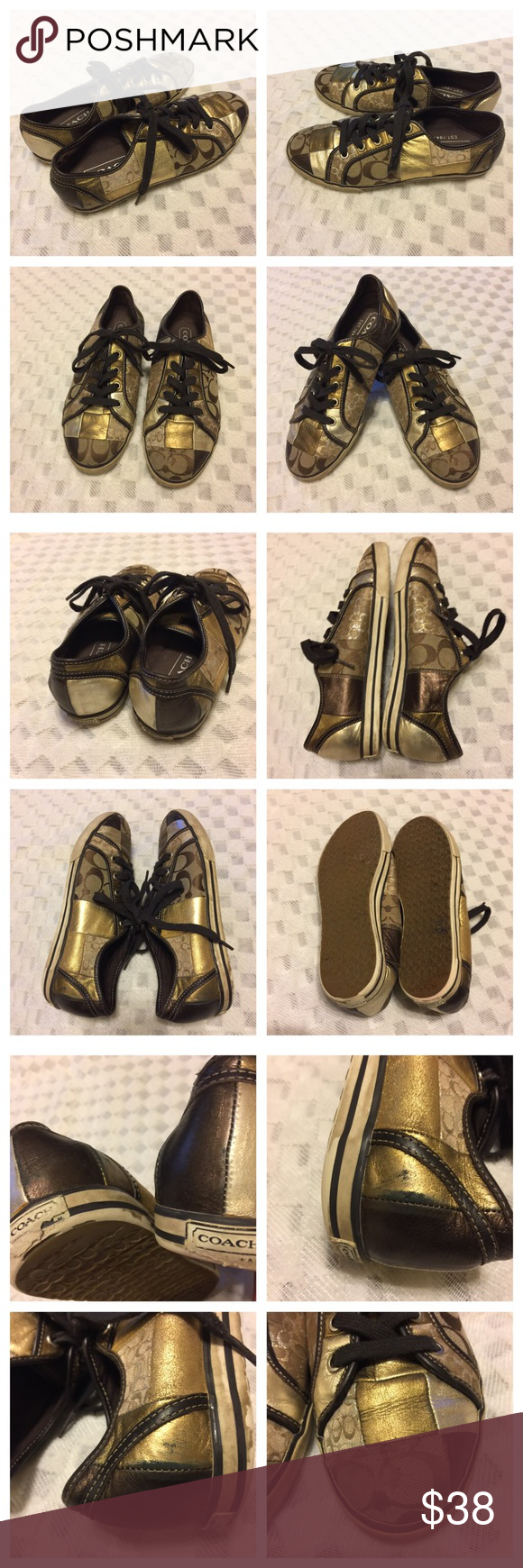 Authentic Coach Sneakers for women Authentic Coach 👟 for women  - Brow/Gold color, size 8.5M with very clean interior. Only had little shaved heels at back and dark marks from normal wear and tear as shown in photo #3. Otherwise, pair is in good condition. No trades. Coach Shoes Sneakers