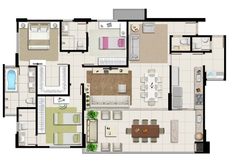 Planta baixa apartamento 3 su tes borges landeiro for Diseno de apartamento en segunda planta