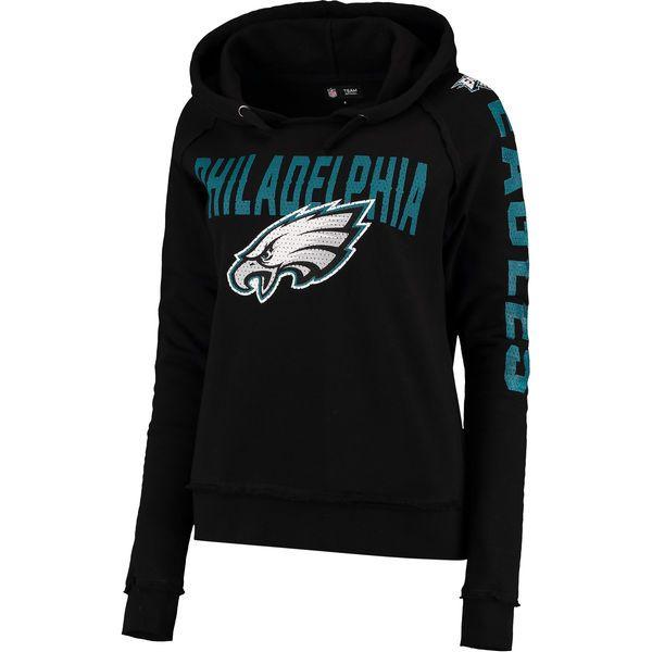 a17f1e1c9eb Philadelphia Eagles 5th   Ocean by New Era Women s Mesh Pullover Hoodie -  Black 2