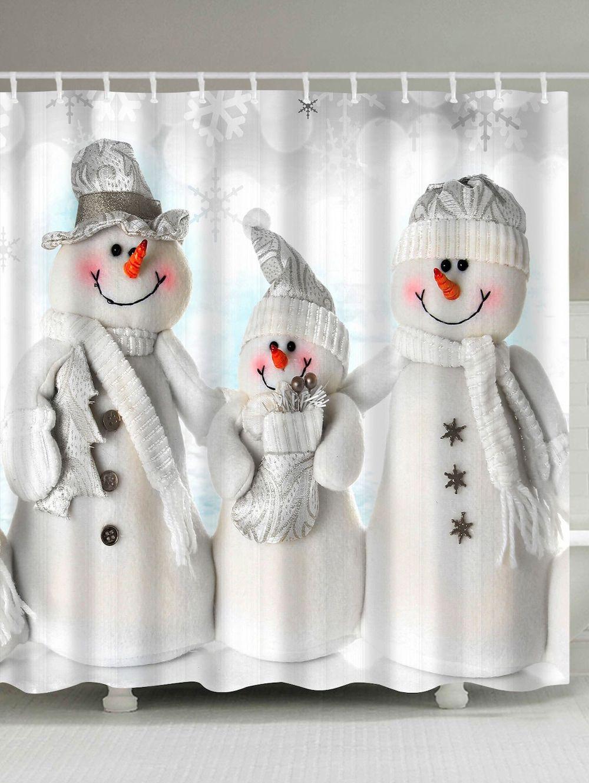 Waterproof polyester snowman christmas shower curtain snowmen