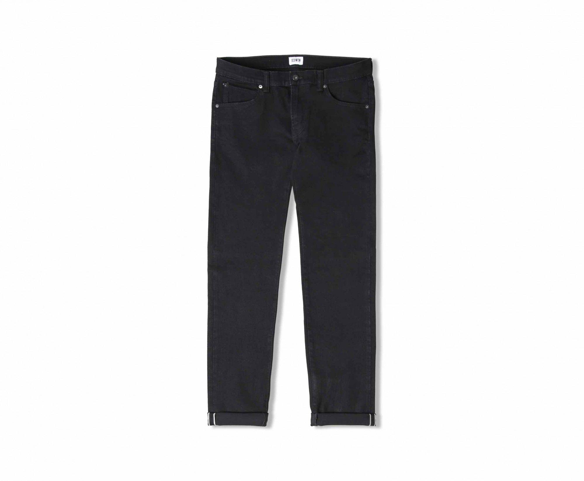 ED-85 Slim Tapered Jeans CS White Listed Black Selvage Stretch Denim - Rinsed